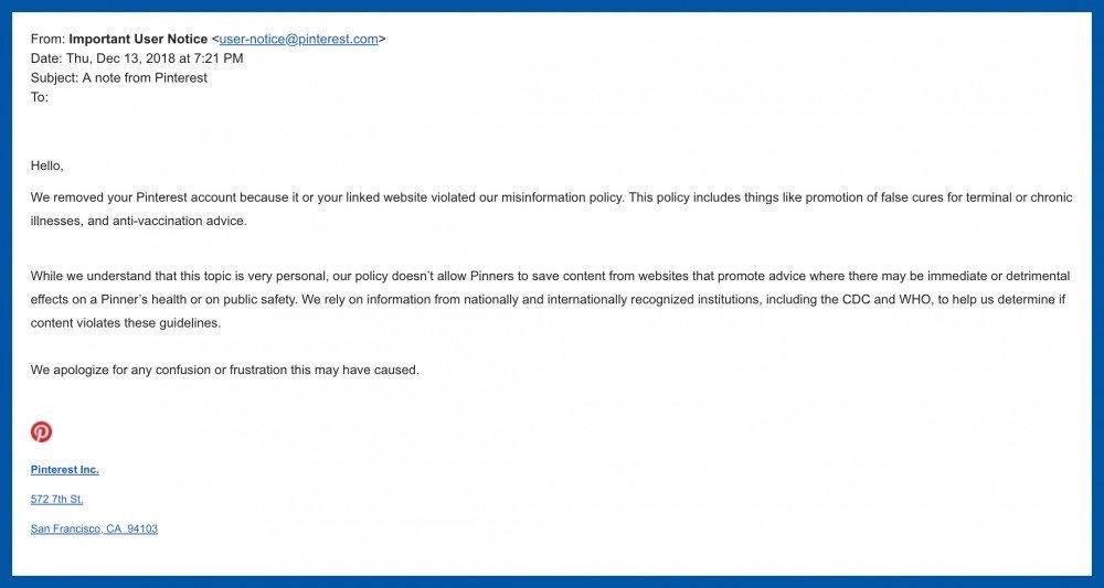 pinterest censorship letter